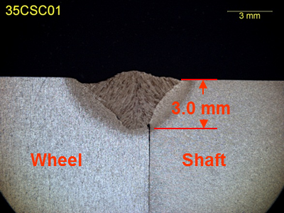 Figure 5b Macrograph from the wheel to shaft joint