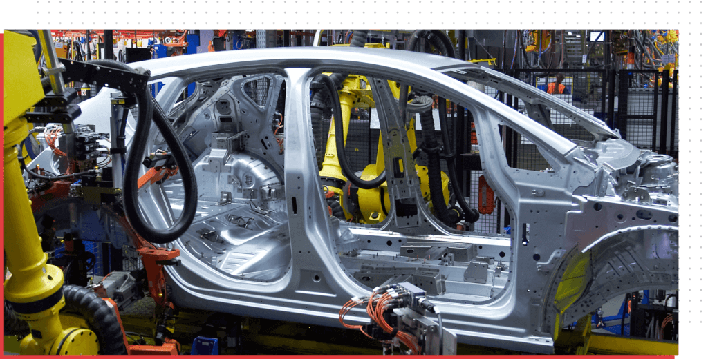 Car frame in production line